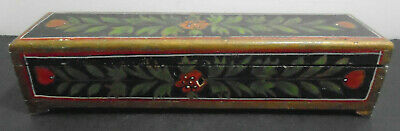 """Antique Hand Painted Wood Pencil Box 10 7/8"""" Long"""