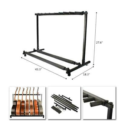 Top Grade 9 Way Multi Guitar Rack Padded Holder Stand Electric Acoustic Bass