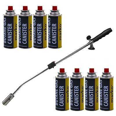 Gas Weed Wand Blowtorch Burner Killer Garden Torch Blaster + 8Pk Butane Weeds