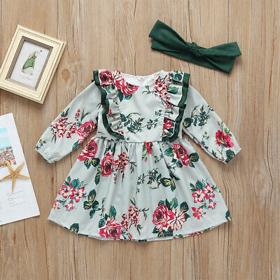 HOT New Toddler Baby Girls Summer Floral Clothes dress 2pc Long sleeve