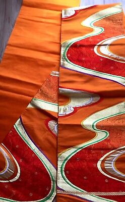 OBI Kimono Silk Belt Japanese Authentic Vintage, Orange