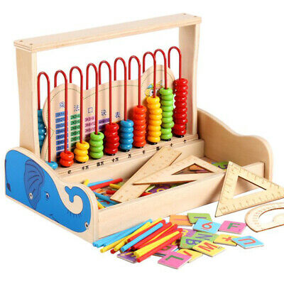 Wooden Bead Abacus Counting Number Kids Preschool Math Learning Teaching Toy FI