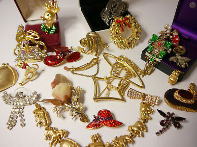 Lovely Lot FIGURAL vintage Jewellery Brooches FLORENZA, AJC, GERRYS, XMAS