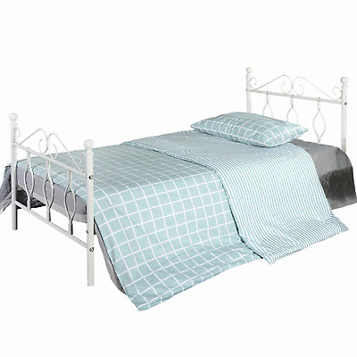 Aingoo Metal Single Bed with Vintage Headboard and Footboard 3ft Bed Frame Solid