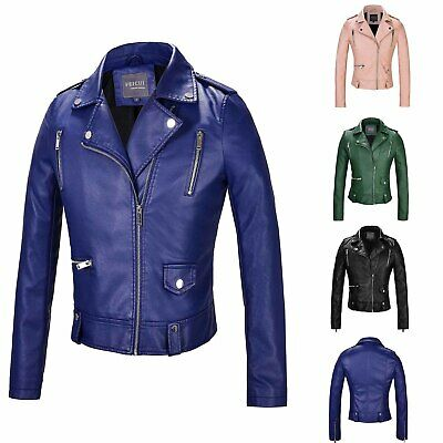 Polyurethane Faux Leather Womens Jackets Coats Luxury Fashion Casual Solid