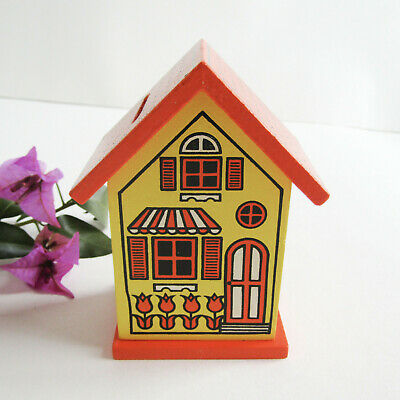 Vtg 70s HIPPIE COTTAGE PIGGY BANK Miniature Toy Victorian House Dollhouse Japan