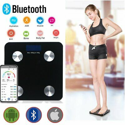 180Kg Bluetooth Scales Bmi Body Fat Monitor Weighing Bathroom Ios Android App Au