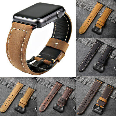 Genuine Leather Wrist Watch Band Strap Bracele For Apple iWatch 38/40/42/44mm