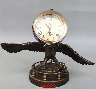 China antique Pure copper crystal Eagles spread their wings Mechanical Watch