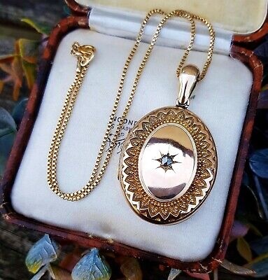 Antique Victorian Gold Tone Large Ornate Locket with Rose Cut Diamond Pendant