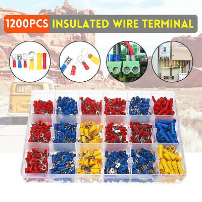 1200Pcs Assorted Insulated Electrical Wire Terminal Crimp Port Connector Spade