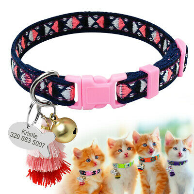 Anti Lost Personalised Custom Cat Collar Embroidery Puppy Kitten ID Collar Tags