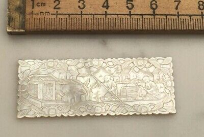 An Antique Mother Of Pearl Game Counter, Deep Carved, Very Detailed