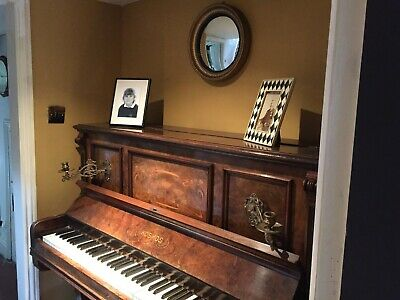 Edwardian (1901-1910) Antique Furniture Well Loved And Used. Upright Victorian Piano With Fluting And Inlaid Decoration