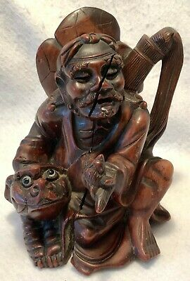 Antique 19th c. Hand Carved Solid Wood Chinese Figure - IMMORTAL w/ FOO DOG