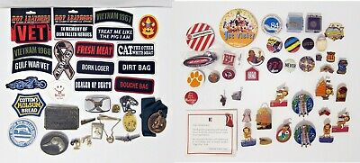 Junk Drawer Lot - Patches Pins Buckles Cufflinks Tie Clips - Vintage