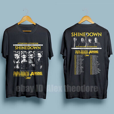 9a0336f9 New Shinedown Tour 2019 Attention Attention Men's Black T-Shirt Size S-XXL