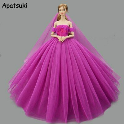 Purple Fashion Doll Clothes for Barbie Doll Dress Evening Dresses Gown Outfits