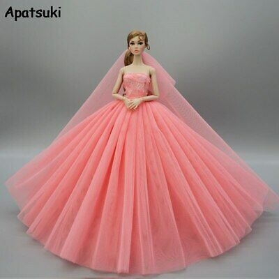 Coral Fashion Doll Clothes For Barbie Doll Dress Outfits Evening Party Gown 1/6