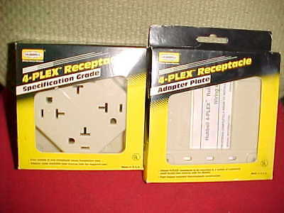 NEW Hubbell 420 I specification grade 4 plex quad 20A and 4api adapter plate