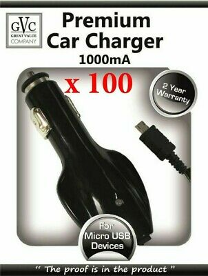 WHOLESALE JOBLOT - 100 x GVC 1000mA Car Charger For Micro USB Devices - Black