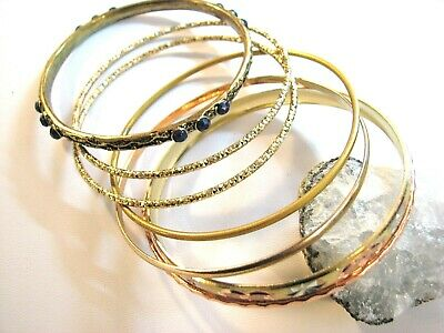 Vintage Lot of 7 Bangle Bracelets Copper Brass Goldtone Stacking Sz. Medium