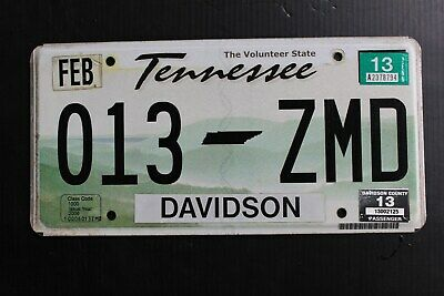 2013 TENNESSEE DAVIDSON COUNTY  The Volunteer State License Plate # 013 ZMD