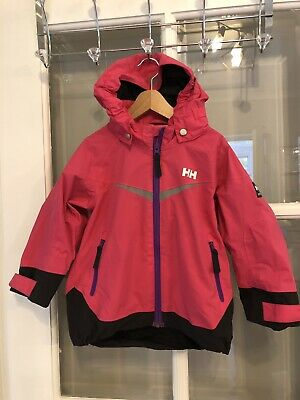 Girls Pink Helly Hansen Waterproof Rain Shower Jacket Coat Age 3 -Excellent Cond