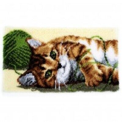 """Latch Hook Rug Kit""""Playful Cat with Wool"""" 70x40cm"""