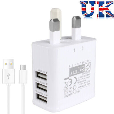 UK Mains Wall 3 Pin Plug Adaptor Charger Power 3 USB Ports for Phones Tablets CE
