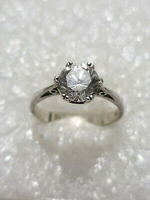 Beautiful White Topaz Engagement Ring Solid Silver 925 vintage Ring T~T1/2