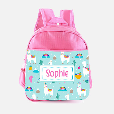 Personalised Llama Alpaca Rainbow Girls Kids Backpack Childrens School Bag