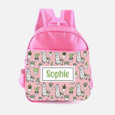 Personalised Llama Alpaca Cactus Girls Kids Backpack Childrens School Bag