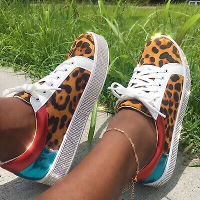 Pazzle BLING-01 Snake Colorblock Lace Up Rhinestone Flatform Athleisure Sneaker