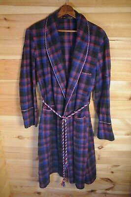 Vintage English Plaid Wool Blend Dressing Gown Smoking Gown Blue Small