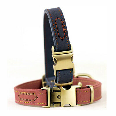Adjustable Leather Dog Collar for Small Pet Puppy Cat Neck Collars with Buckle