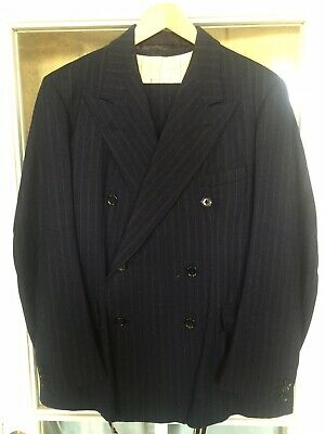 1940/1950s Mens Vintage three-piece, Double Breasted Pinstripe Suit in dark blue
