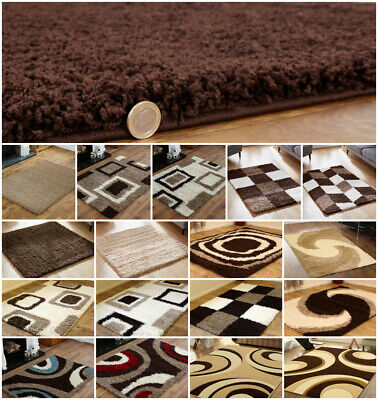 Modern Small Large Runner 5Cm Pile Shaggy Brown Beige Clearance Sale Online Rugs