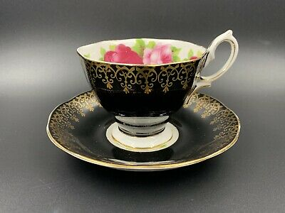 Royal Albert Black Gold Lace Old English Rose Tea Cup Saucer Set Bone China