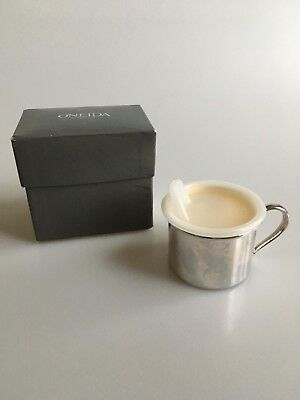 Oneida Silverplate Baby Cup with Sippy Lid & Gold Wash Interior