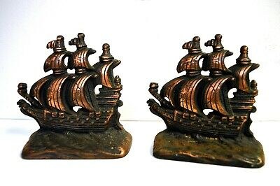 Antique Cast Iron Brass Clipper Sailing Ships Bookends - Z 1200 On Back