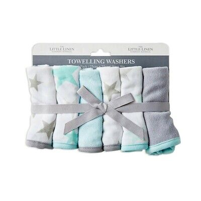 The Little Linen Company Towelling Washer 6 Pack Skydream Teal