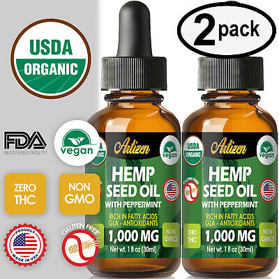 Mint Hemp Oil Extract for Pain Relief, Stress, Sleep (PURE & ORGANIC) - 1000 mg