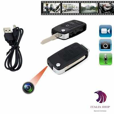 Mini Chiave Auto Telecamera Registra Video Audio Micro Sd Spy Cam Usb Spia