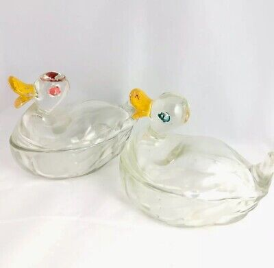 Two Antique 1940s Jeanette Clear Glass Duck Covered Candy Dishes Baby Boy Girl