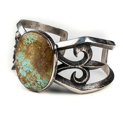 High Grade Turquoise Tufa Cast Sterling Silver Navajo Cuff Bracelet Anderson