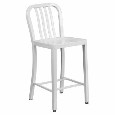 Flash Furniture 24 in. Metal Indoor-Outdoor Counter Height Stool with Slat Back