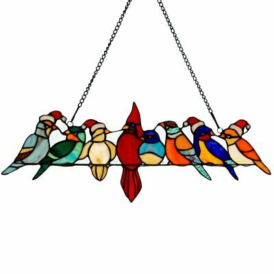 River of Goods Santa Birds on Wire Stained Glass Window Panel