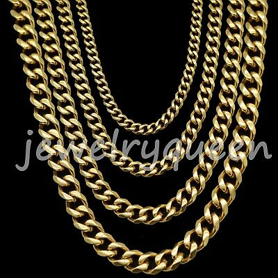 18K Gold Plated Stainless Steel 316L Miami Cuban Curb Link Chain Necklace 5-15mm
