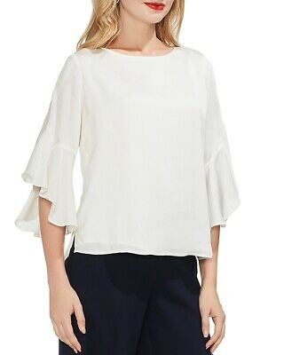 4e157665f7235a $378 Vince Camuto Women's White Ruffled Elbow Sleeve Satin Blouse Top Size  Xxl